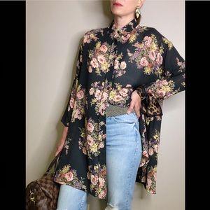 Vintage 90s Express floral kimono button blouse S